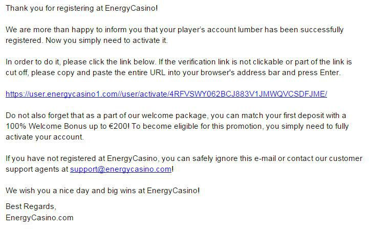 Energy Casino Login